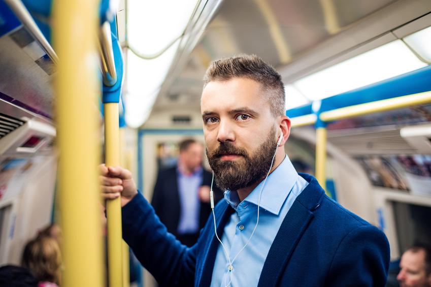 Businessman in subway